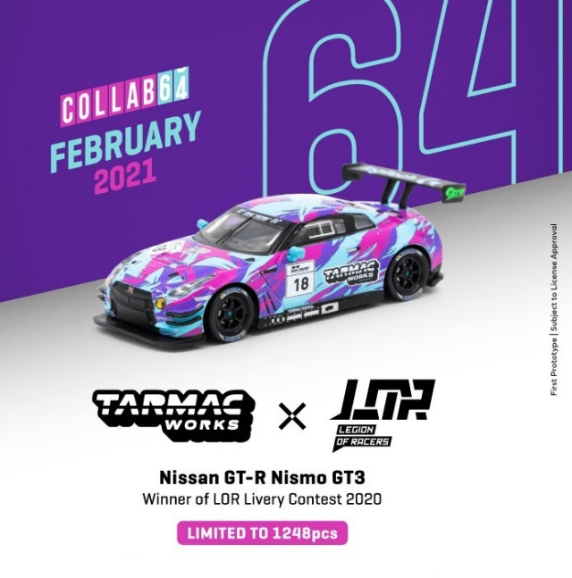 TARMAC 1/64 Nissan GTR Nismo GT3 Winner of Legion of Racers X Tarmac Works Livery Contest