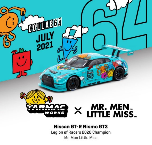 <予約 2021/9月発売予定> TARMAC 1/64 Nissan GT-R Nismo GT3 Legion of Racers 2020 Overall Champion Mr. Men Little Miss