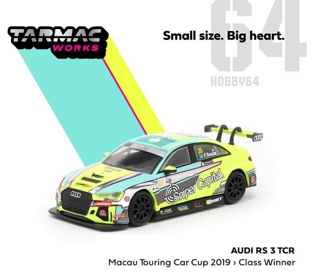 TARMAC 1/64 Audi RS 3 TCR Macau Touring Car Cup 2019 1950cc Class Winner F.Souza