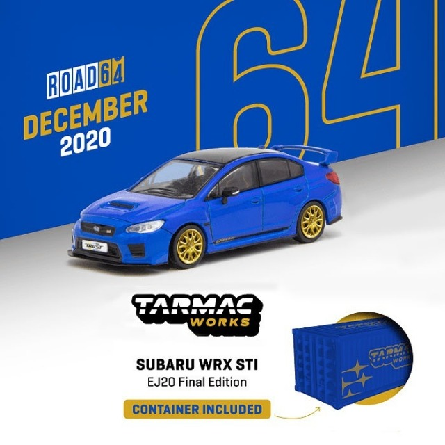 TARMAC 1/64 Subaru WRX STI EJ20 Final Edition Blue ※コンテナBOX付