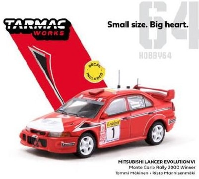 TARMAC 1/64 Mitsubishi Lancer Evolution VI Monte Carlo Rally 2000 Winner