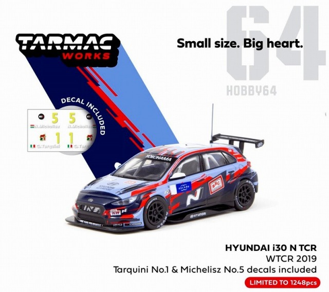 TARMAC 1/64 Hyundai i30 N TCR WTCR 2019 with decal, No.1 Tarquini & No.5 Michelisz