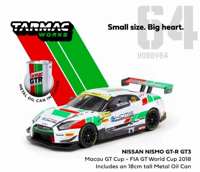 TARMAC 1/64 Nissan Nismo GT-R GT3 Macau GT Cup FIA GT World Cup 2018 With Metal Oil Can T.Matsuda
