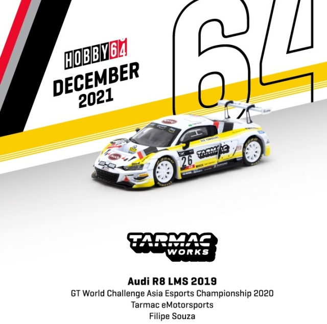 <予約 2022/2月発売予定> TARMAC 1/64 Audi R8 LMS 2019 GT World Challenge Asia Esports Championship 2020 Tarmac eMotorsports