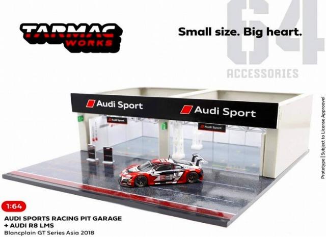 TARMAC 1/64 Racing Pit Garage Audi Sport +Audi R8 LMS Blancpain GT Series Asia 2018