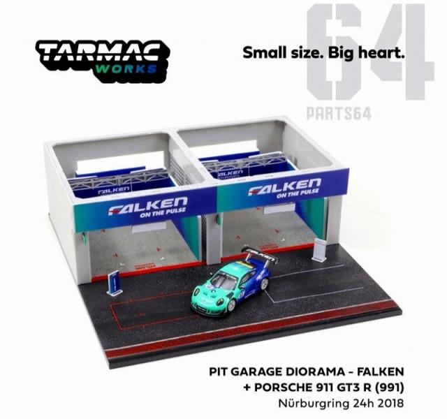 TARMAC 1/64 Pit Garage Diorama-FALKEN+Porsche 911 GT3 R (991) Nurburgring 24h 2018