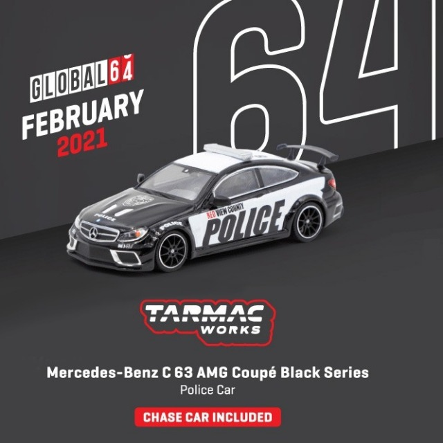 TARMAC 1/64 Mercedes-Benz C63 AMG Coupe Black Series Police Car