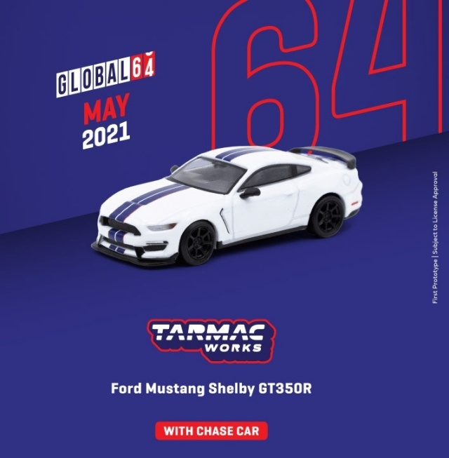 TARMAC 1/64 Ford Mustang Shelby GT350R White Metallic