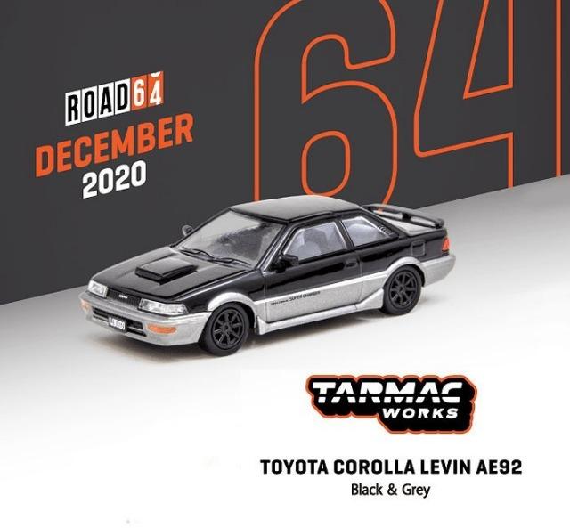 TARMAC 1/64 Toyota Corolla Levin AE92 Black / Grey