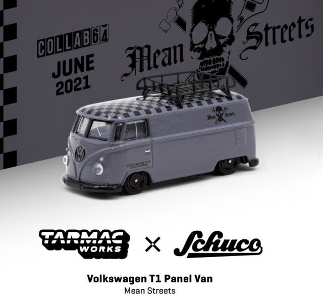 TARMAC 1/64 VW T1 Panel Van Mean Streets Special Edition with metal oil can and special paper box