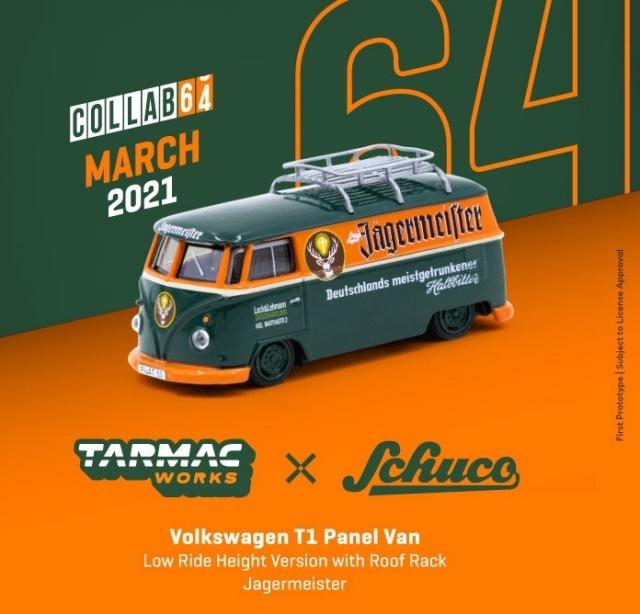 TARMAC 1/64 Volkswagen T1 Panel Van Jagermeister Low Ride Height with Roof Rack