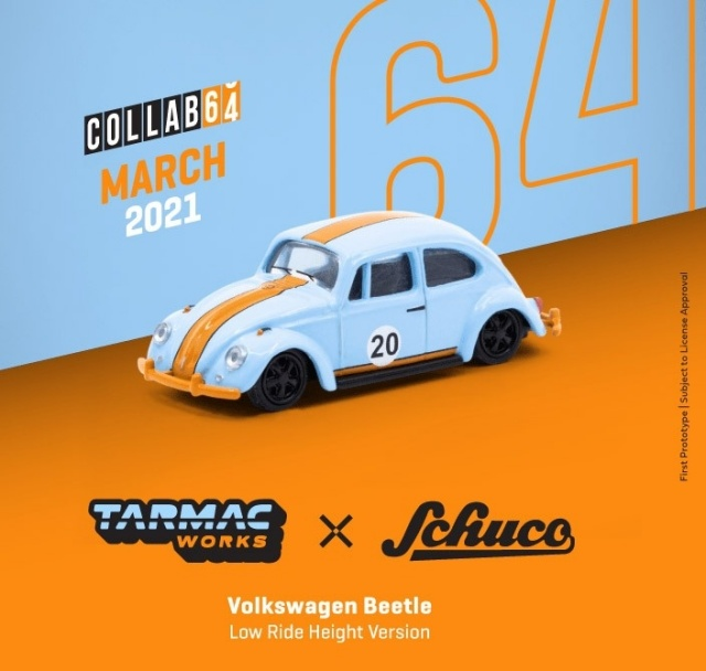 TARMAC 1/64 Volkswagen Beetle Blue/Orange Low Ride Height