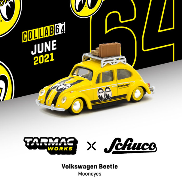 TARMAC 1/64 VW Beetle Mooneyes With roof rack and suitcases