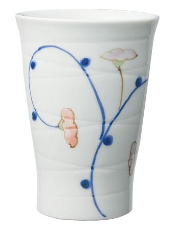 ほのぼの湯のみ(有田焼・手描き仕上げ) Lサイズ 絵柄:小花 [生活支援・介護予防用品] フォーライフメディカル