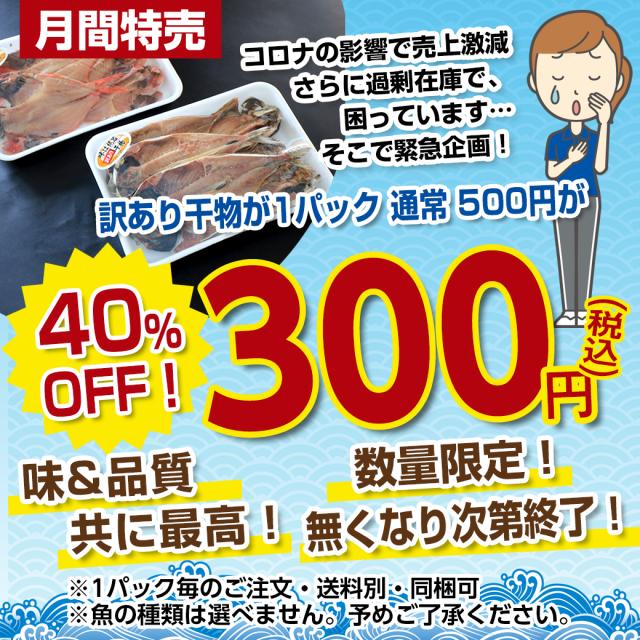 【9月・月間特売品】 訳あり干物 1P 300円