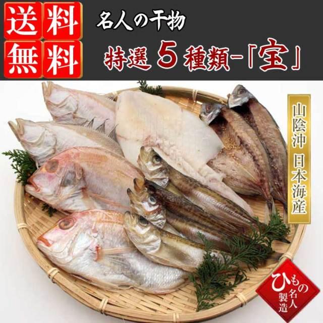 干物(ひもの) 5種(連子鯛入り)詰合-宝 【送料無料】※北海道・沖縄・東北は送料520円をお願いします。