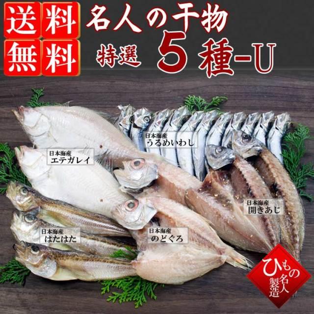 干物(ひもの)詰合 名人の干物 5種-U(のどぐろ中入り) 【送料無料】※北海道・沖縄・東北は送料520円をお願いします。