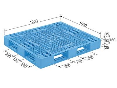 プラスチックパレット D4-1012-3 標準ブルー (1200×1000) (11~50枚) 1枚単価 ≪送料無料≫
