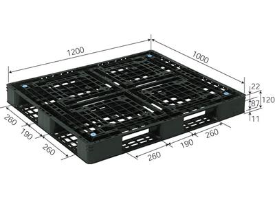 プラスチックパレット D4-1012-6 再生ブラック (1200×1000) (11~50枚) 1枚単価 ≪送料無料≫