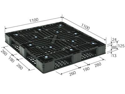 プラスチックパレット D4-1111-7 再生ブラック (1100×1100) (11~50枚) 1枚単価 ≪送料無料≫