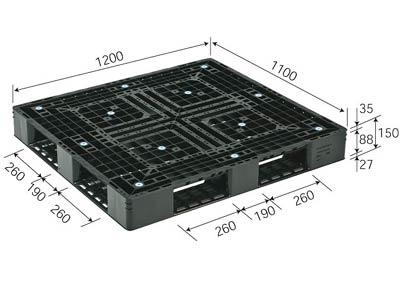 プラスチックパレット D4-1112-3 再生ブラック (1200×1100) (11~50枚) 1枚単価 ≪送料無料≫
