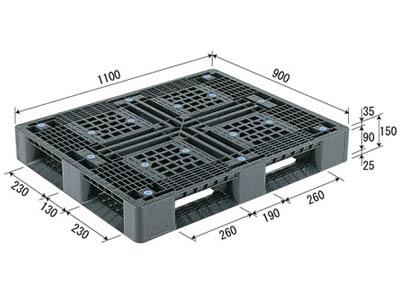 プラスチックパレット D4-911-2 再生ブラック (1100×900) (11~50枚) 1枚単価 ≪送料無料≫