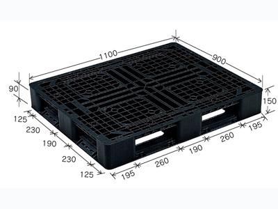 プラスチックパレット J-D4・1109BK (1100×900) (11~50枚) 1枚単価 ≪送料無料≫