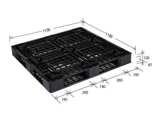 ≪送料無料≫プラスチックパレット JL-D4・1111E3再生ブラック (1100×1100) (2枚~10枚コーナー)