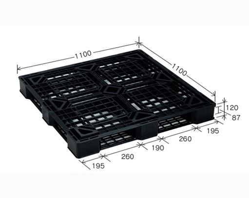 ≪西日本送り≫プラスチックパレット JL-D4・1111E4-2 ブラック (1100×1100) (1枚)