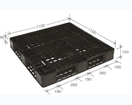 ≪送料無料≫プラスチックパレット JL-D4・1111L再生ブラック (1100×1100) (51枚~100枚コーナー)