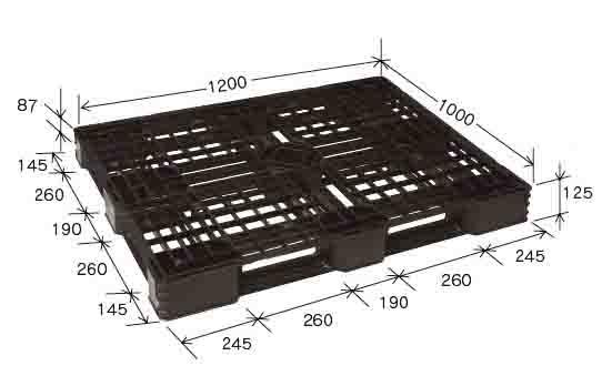プラスチックパレット JL-D4・1210E2 (1200×1000×H125mm) (51枚~100枚価格)