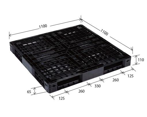 ≪送料無料≫プラスチックパレット JL-R4・1111E再生ブラック (1100×1100) (51枚~100枚コーナー)