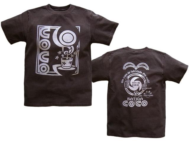 hinolismo-Batida de coco-バチーダ・ヂ・ココTシャツ-半袖ブラウン-ブラジルと日本をTシャツでデザインするお店ヒノリズモ