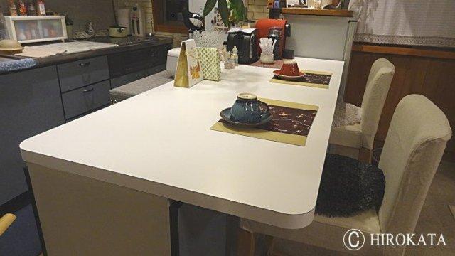 白いダイニングテーブル天板のサイズオーダー