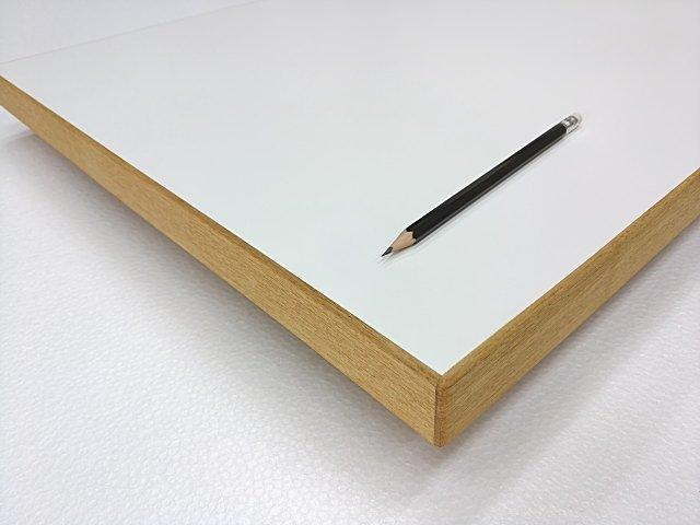 メラミン化粧板天板オーダー作製 白縁タモムク材貼り