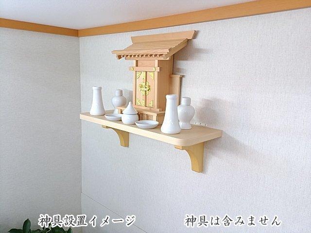 神棚用の棚板 石膏ボード壁にも設置できるヒノキ柄化粧板仕上げ56cm