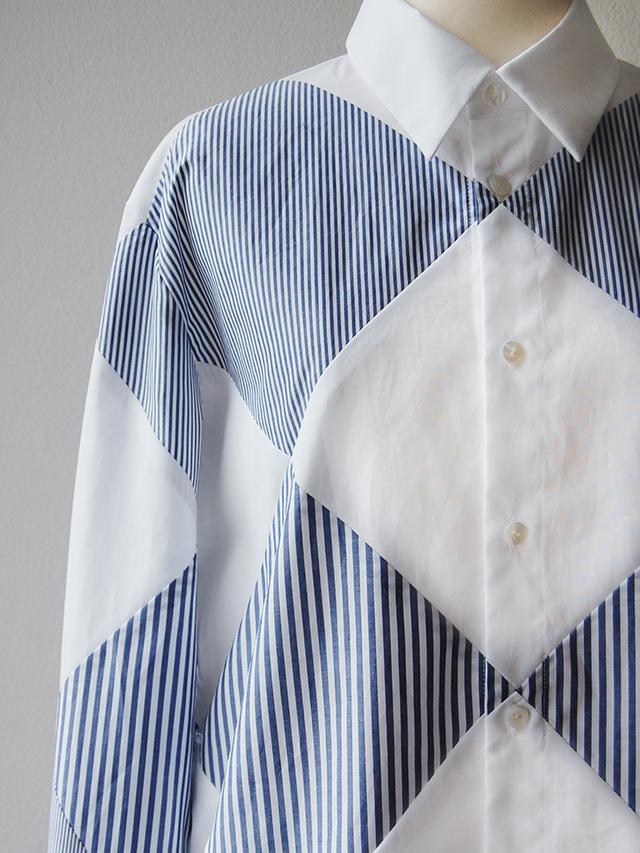 ダイヤ切替パッチワークメンズシャツ