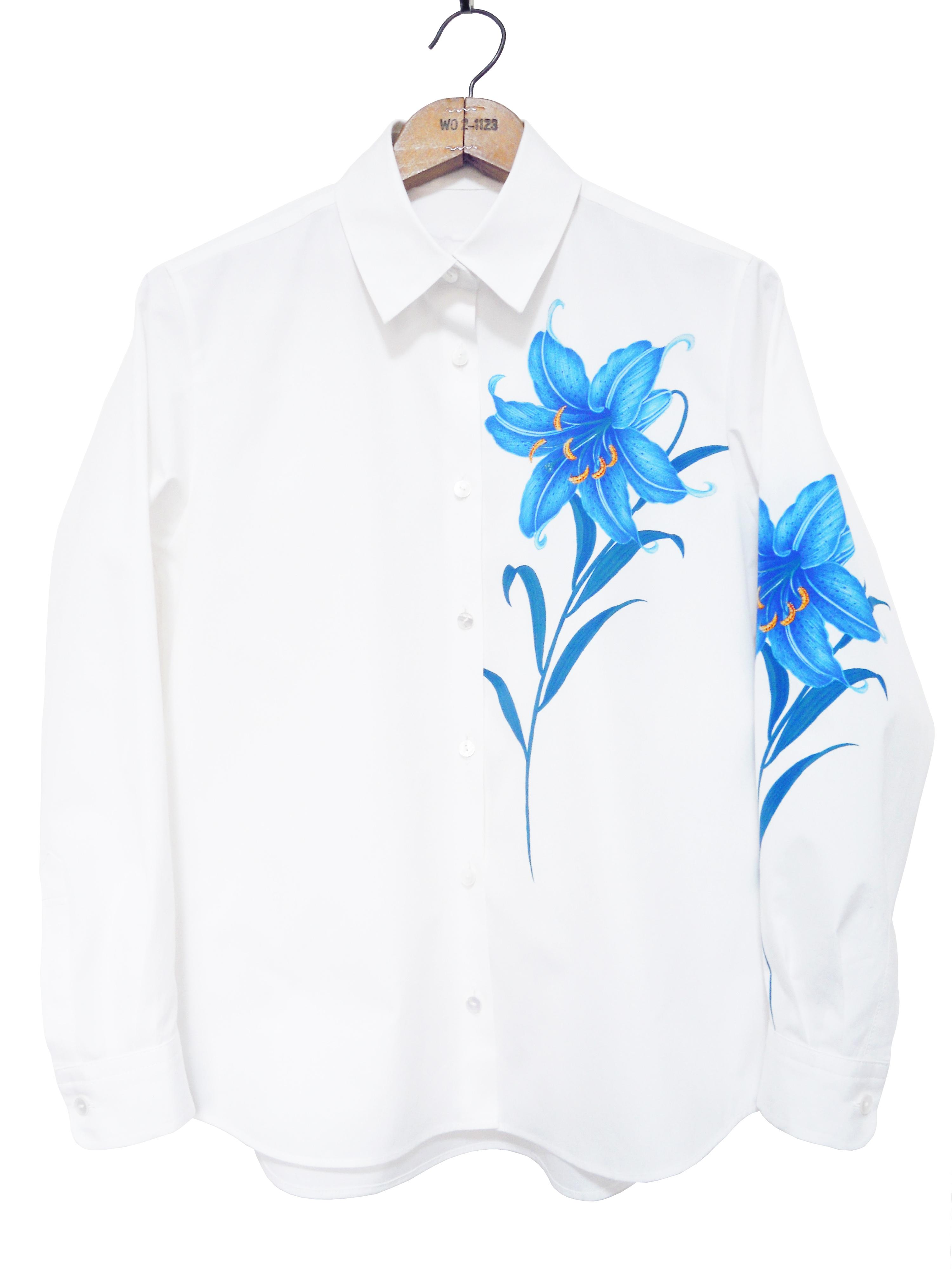 レディスシャツ、プリント、長袖、ブロード、花柄