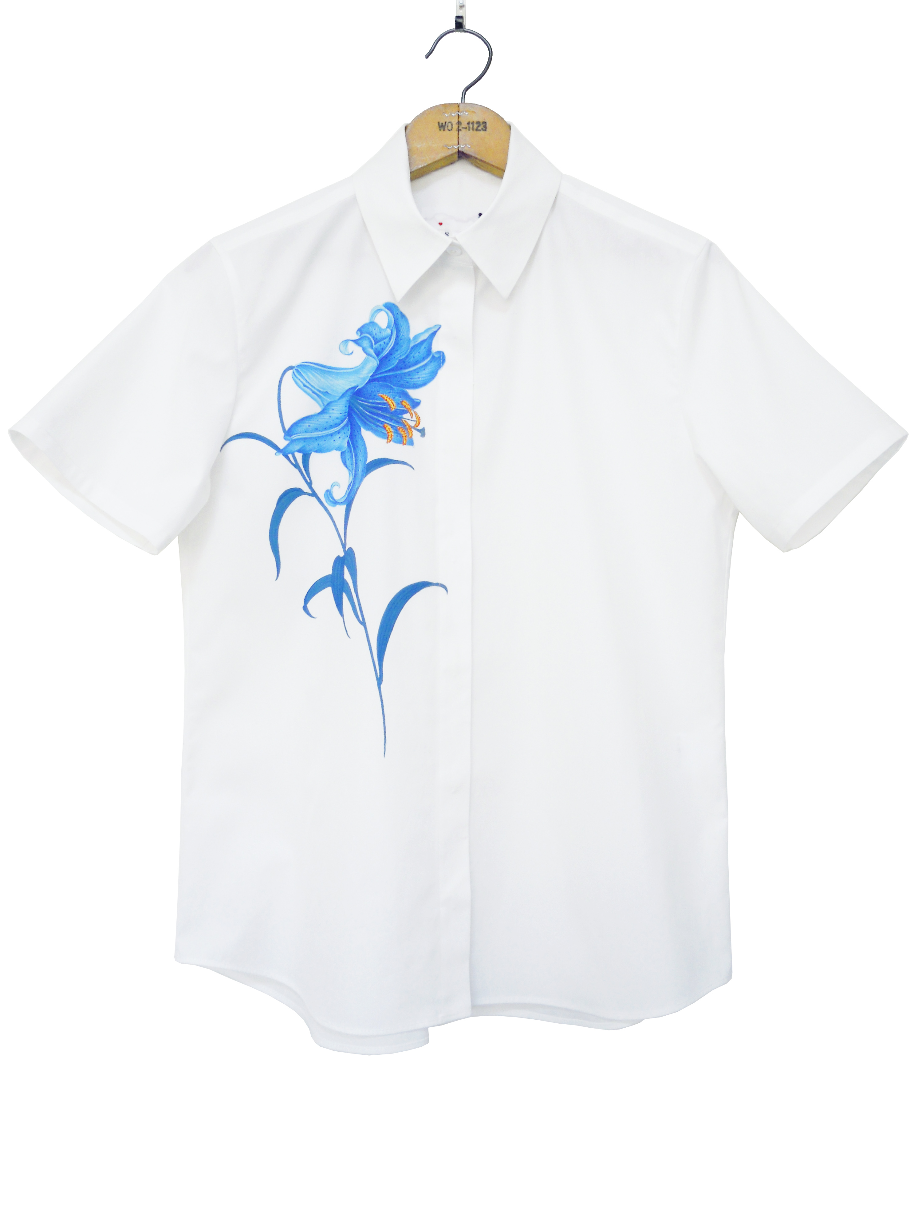 レディスシャツ、プリント、半袖、ブロード、ゆり