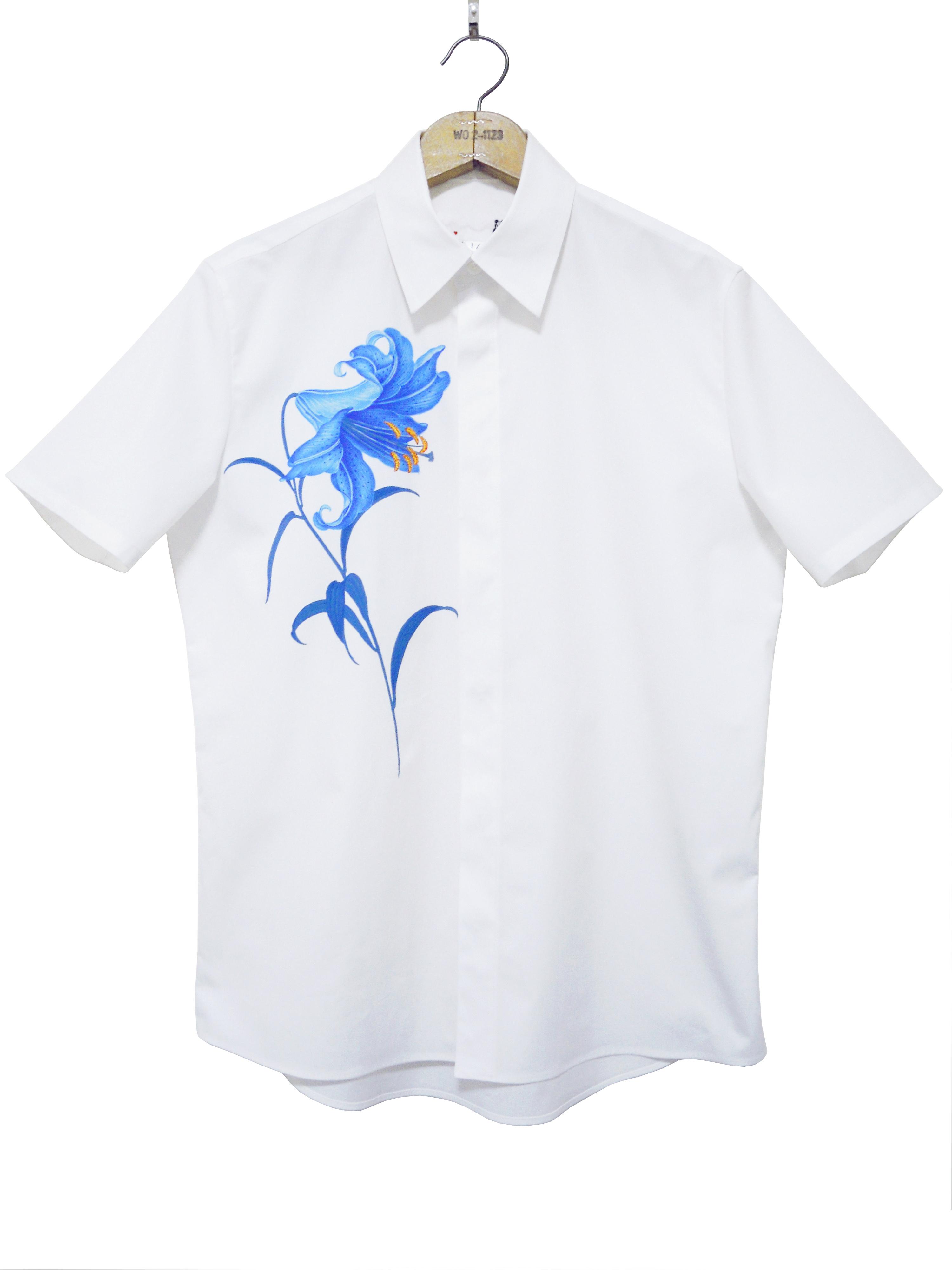 メンズシャツ、プリント、半袖、ブロード、ゆり