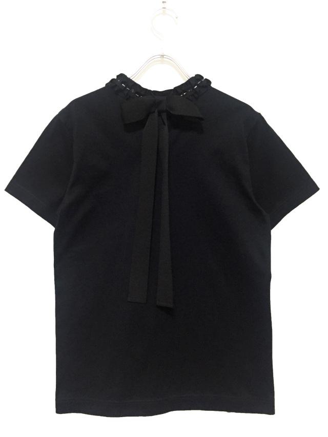 レディス、Tシャツ、半袖、ビジュー、リボン