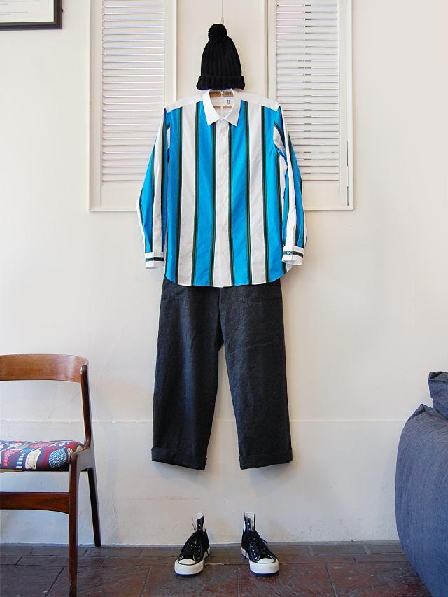 100/2ブロード ストライプシャツ