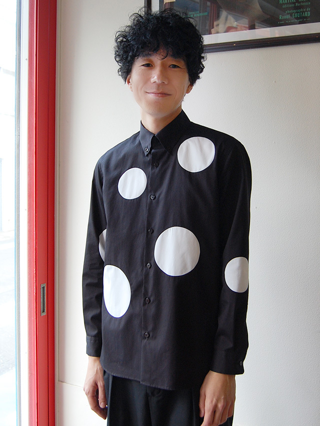 100/2ブロード 水玉モノトーンシャツ