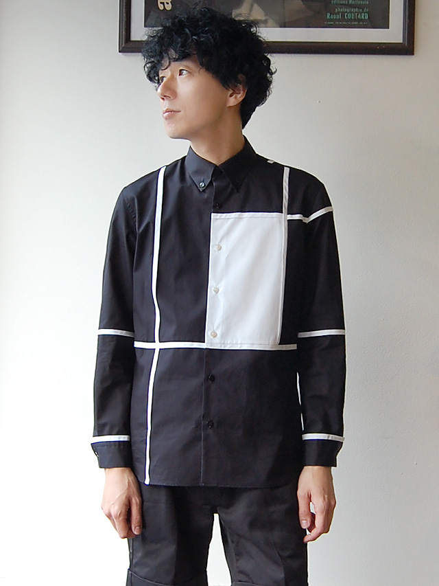 100/2ブロード ブロッキングモノトーンシャツ