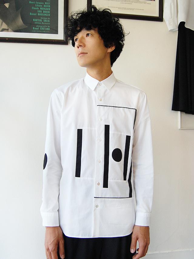 100/2ブロード 幾何柄メンズシャツ