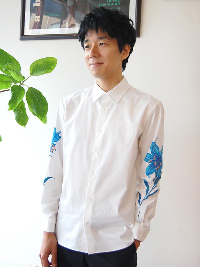 100/2ブロード ゆり柄袖プリントシャツ