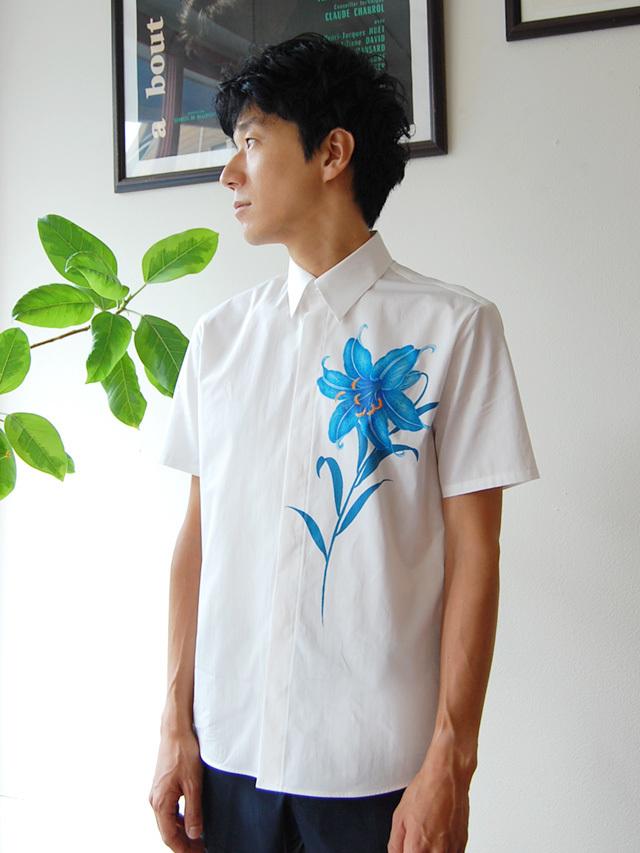 100/2ブロード ゆり柄メンズ半袖シャツ
