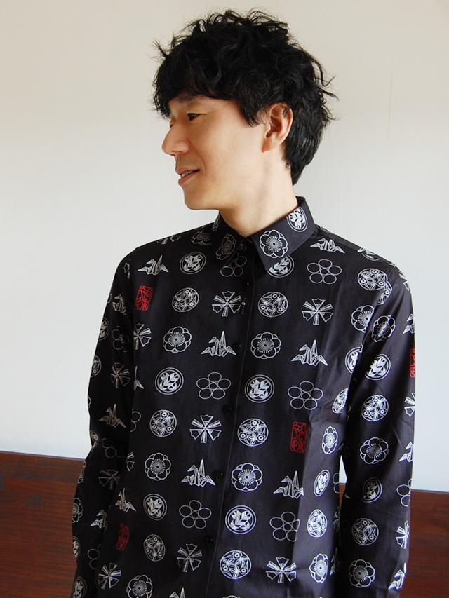 100/2ブロード 家紋プリントシャツ
