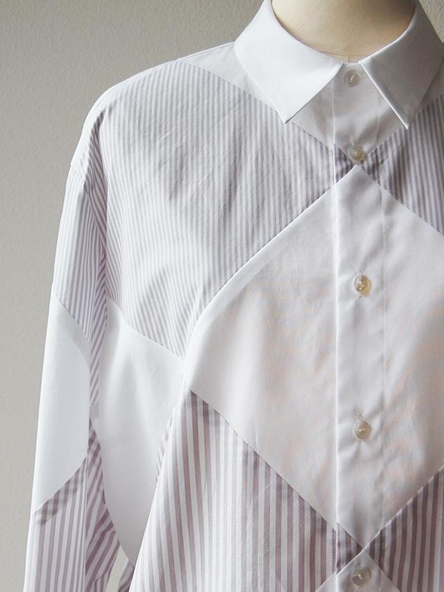 ダイヤ切替パッチワークシャツ