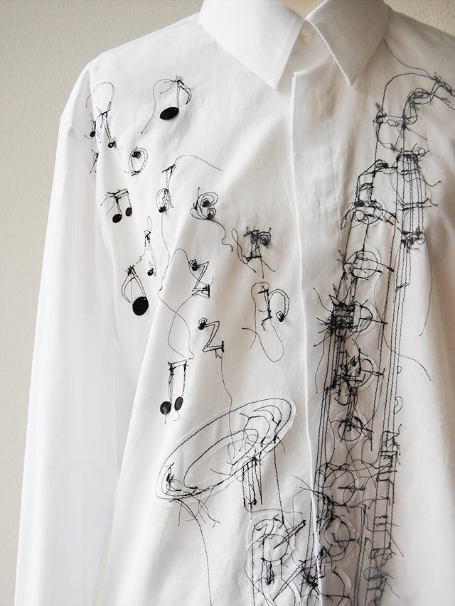 100/2ブロード サックス柄刺繍メンズシャツ